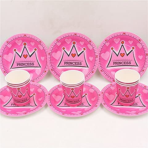 MH-RITA nursery school disposable tableware set 60pcs crown girl's birthday party 30pcs plate/dish+30pcs cups for 30