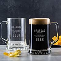 Personalised Best Grandpa Beer Glass/New Grandad Birthday Gifts/Beer Lovers Gifts for Men/Alcohol Gifts for Him/Fathers Day Personalised Gifts/Grandfather Gifts from Granddaughter or Grandson