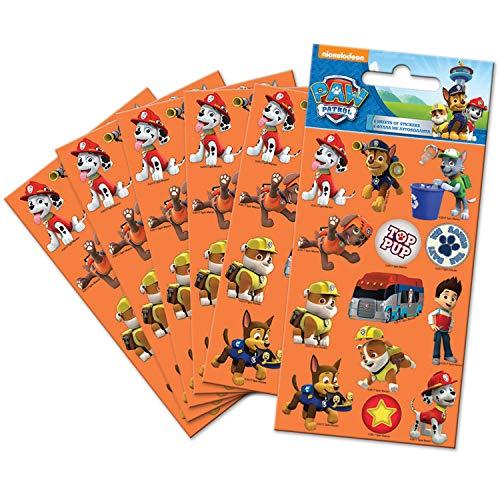 Paper Projects 9107083 Paw Patrol - Pack de 6 Pegatinas para Fiestas, Color Naranja