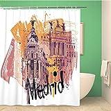 Awowee Decor - Cortina de Ducha (180 x 180 cm, poliéster), diseño de Ciudad de Madrid, Color Amarillo