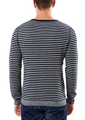 s.Oliver Denim Pullover Langarm, Pull Homme Blau (indigo stripes 58G0)