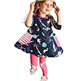 bobo4818 Toddler Baby Kid Girl Floral Pattern Dress Outfit Clothes Kleid Langarm MäDchen (Drak Blue, Size:6T)