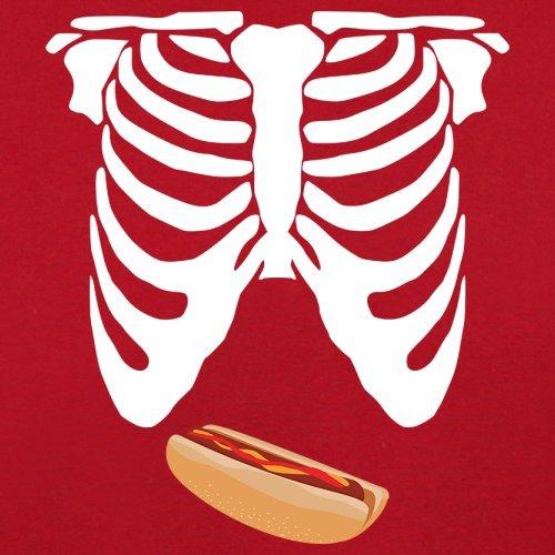 Skelett Hotdog Bauch - Herren T-Shirt - 13 Farben Rot
