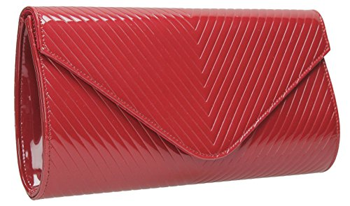 Viola V Quilt strenesse custodia portafoglio pelle laccata stanotte Rosso (rosso)