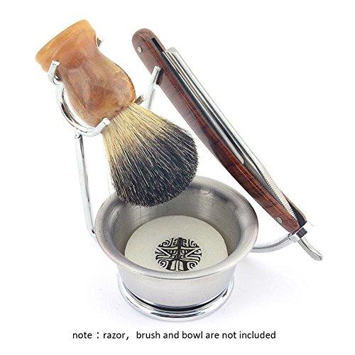 Edelstahl Rasierständer Rasier-Halter,3 in 1 Rasier-Kit Rasierseifenschale, Rasierpinsel für Rasieren Rasiermesser Pinsel & Rasieren Seifenschale Männer-Colinsa