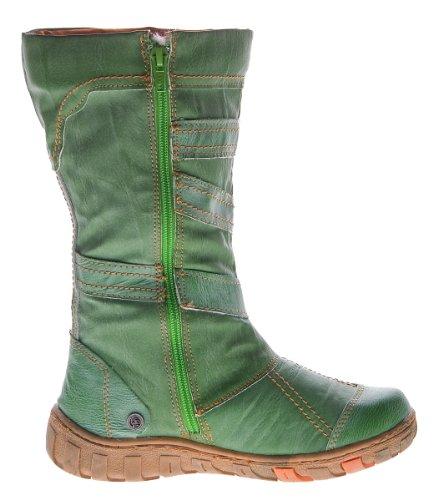 Bottes d'hiver pour femme avec doublure en cuir tMA chaussures noir/blanc/vert/rouge zierreißverschlüsse bottes d'hiver Vert - Vert