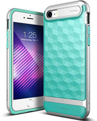 Caseology Funda iPhone 7, Funda iPhone 8, [Serie Parallax] Proteccion Delgada Agarre Texturizado y Diseno geometrico [hombreta Verde - Mint Green] para Apple iPhone 7 (2016) / iPhone 8 (2017)