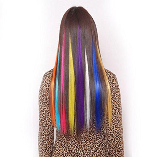 Clip In Extensions, Chemie-Faser gerade Haarteil 10PCS mehrere Farben 55,9cm Langes Haar farbigen Party Highlights Haar Zubehör DIY Haar Dekoration Cosplay mit Geschenk (Extensions Farbige Haar)