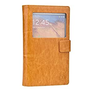 Jo Jo Cover Corbett Series Leather Flip Case For Panasonic Eluga Dl1 Light Brown