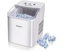 Yoleo Machine à glaçons, Machine à glaçons silencieux 9 glaçons en 8 minutes, 26 lbs/12 kg en 24 Hours, Fonction D'auto-netto