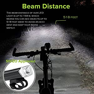 Bike Lights, DEGBIT® [Updated] USB Rechargeable Bike Light Set, Mountain Bike Light, Cycle Lights, LED Bicycle Lights, StVZO Approved, Quick Release, USB Rechargeable Front Light and Tail Light