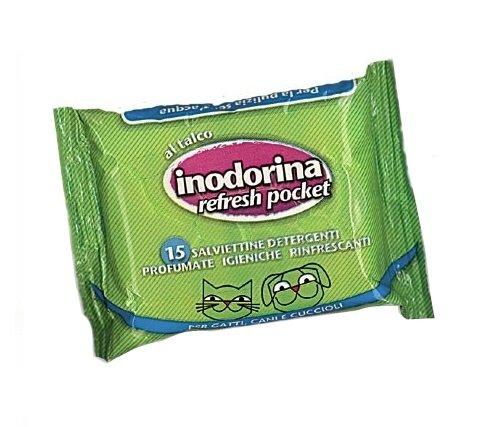 Salviette Inodorina Refresh Pocket 15 pz - Salviettine detergenti profumate al talco per cani, gatti e cuccioli