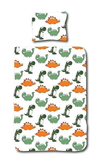 Aminata Kids Kinder-Dino-Bettwäsche 100-x-135 cm Dino-saurier Jurassic T-Rex Urzeit-Tier Vulkan Baby-Bettwäsche 100-% Baumwolle Renforce Weiss grün orange Junge-n und Mädchen (Dinosaurier Baby Bettwäsche)