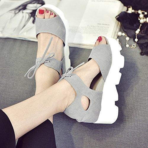 XY&GKFrau Xia Songgao's Sandalen Frauen Fisch Heels und Heels 38 grey