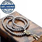 Wolfman Outdoor Voll Edelstahl Selbstverteidigung Buddha Perlen Halskette Ketten Hand Armband Kette (Voll Edelstahl Buddha Perlen)