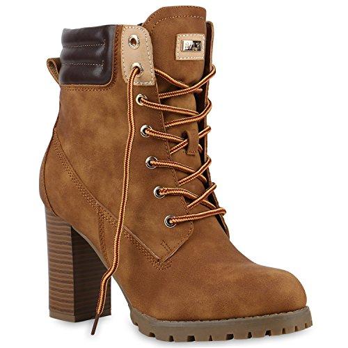 Warm Gefütterte Damen Stiefeletten Worker Boots Outdoor Schuhe Hellbraun Gefüttert