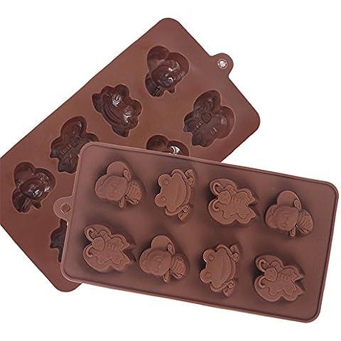 SinCook - 8 stampi in silicone per cioccolato, budino, gelatina,