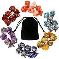 Beetest 6 Set 42 PCS Colores surtidos Acrílico Número poliédrico Juego Dados 7 Estilo D4 D6 D8 2D10 D12 D20 con bolsas de almacenamiento para mazmorras Dragones Fiesta Juego de matemáticas Juego