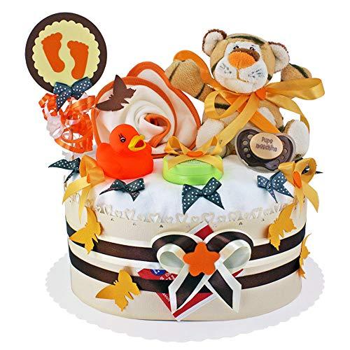 MomsStory - Windeltorte neutral   Tigger   Baby-Geschenk zur Geburt Taufe Babyshower   1 Stöckig (Orange-Beige) Baby-Boy & Baby-Girl (Unisex) mit Plüschtier Lätzchen Schnuller & mehr
