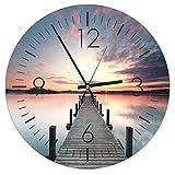 Feeby, Wanduhr, Mehrfarbige Deco Panel Bild mit Uhr, Durchmesser 40 cm, Steg, Sonnenuntergang, See, Wasser, Landschaft, Aussicht, VIOLETT, BRAUN
