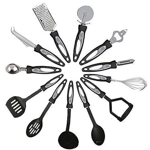 Kabalo 12 pièces en acier inoxydable de cuisine Ustensile de cuisine set - faite avec des poignées en nylon