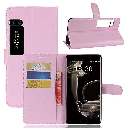 Kihying Hülle für Meizu Pro 7 Plus Hülle Schutzhülle PU Leder Flip Wallet Fashion Geschäft HandyHülle (Pink - JFC08)