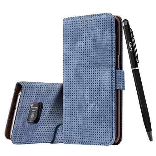 Samsung Galaxy S7 Edge Hülle, Galaxy S7 Edge Schutzhülle Leder Hülle, Alfort Retro Ledertasche Gasdurchlässig PU Leder Tasche Case Cover für Samsung Galaxy S7 Edge Smartphone (Blau) + Stylus Pen Case Cover Stylus Pen