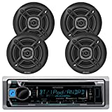 #4: New KMR-D365BT Kenwood Marine Boat Outdoor Bluetooth CD MP3 Player USB iPod iPhone Input Pandora AM/FM Receiver 4 X EnrockMarine 6.5