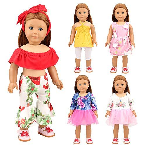 Miunana 5 Sets Kleidung Dress Kleider Hemd Hose Urlaub für 18 Inch American Girl Dolls und andere 16-18 Inch Puppen (Kleider Für American Girl-puppen)