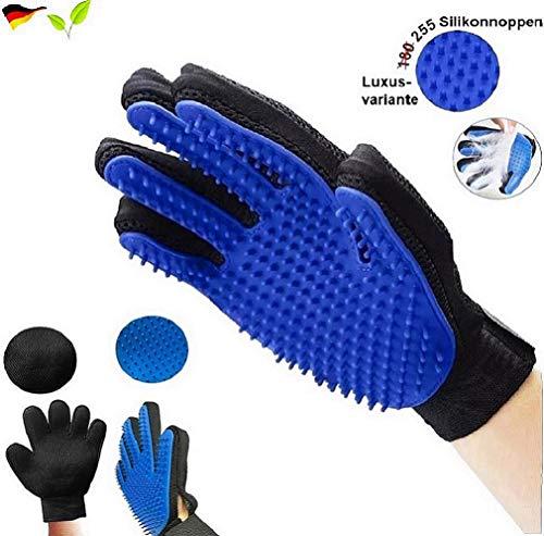 pet-ti-cute Tierhaar Handschuh USA - ORIGINAL - Hunde bürste Fingerhandschuhe Haarentferner Fell-pflegehandschuh Hund Katze Fell-Pflege Haustier Haar (Blau - 255 Silikonnoppen - Luxusvariante)