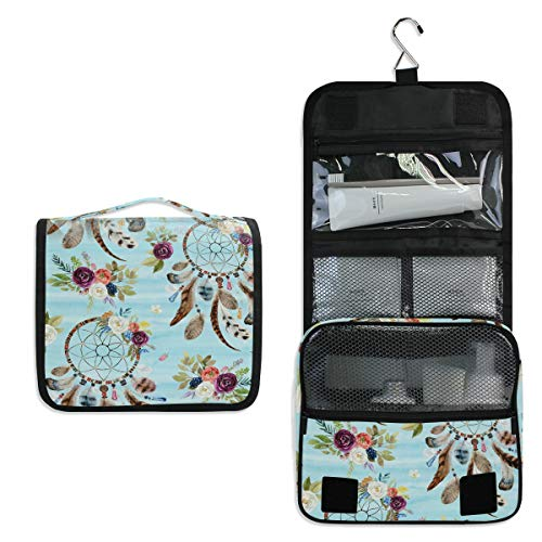 Linomo - Neceser de Viaje para Mujer y Hombre, diseño Floral, atrapasueños, Bolsas de Maquillaje Grandes con Gancho