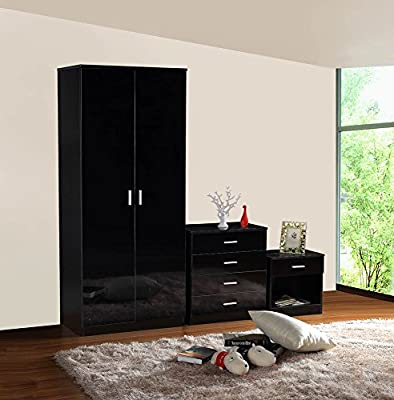 Gladini High Gloss 3 Piece Bedroom Furniture Set - Includes Wardrobe, 4 Drawer Chest, Bedside Cabinet