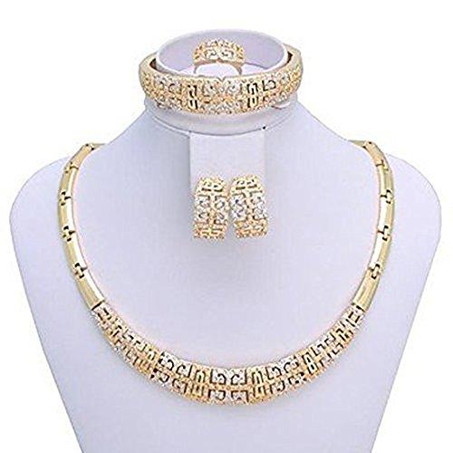 Jxx femmes Fashion Jewelry Set (Comprend Collier Bracelet Boucles d'oreilles Bague) doré