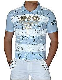 S&LU angesagtes Herren Polo-Shirt mit abgefahrenem Allover-Gold-Print / viele Größen / Jetzt auch im Sparpack zum Hammerpreis
