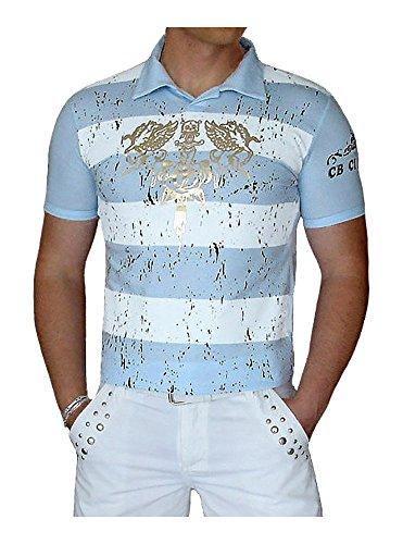 S&LU angesagtes Herren Polo-Shirt mit abgefahrenem Allover-Gold-Print / viele Größen / Jetzt auch im Sparpack zum Hammerpreis Hellblau XXL (Herren-t-shirt Dolch)