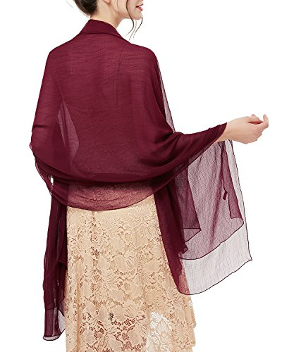 bridesmay Damen Strand Scarves Sonnenschutz Schal Sommer Tuch Stola für Kleider in 29 Farben Burgundy -