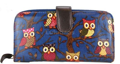 Miss Lulu - Portafoglio con zip in tessuto cerato, motivo a pois Owl Navy