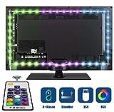 Tobbiheim LED TV Hintergrundbeleuchtung, Fernseher Leiste Einfach Installation 2 Meter 40cm*2+60cm*2 RGB USB Betrieben mit Wireless RF Fernbedienung für 40 bis 60 Zoll HTDV Fernseher, Monitor
