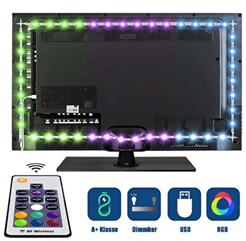 Tobbiheim Iluminación de TV, 2 Meter USB funciona con infrarrojos IR Mando a Distancia 20 colores Barra de Televisor Fácil Instalación Para 40 A 60 Pulgadas HTDV Televisor, Monitor