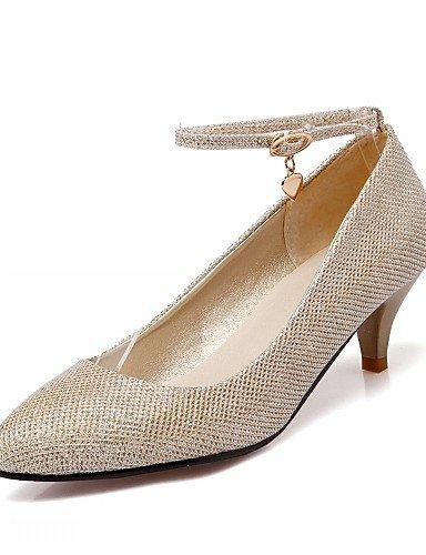 WSS 2016 Chaussures Femme-Bureau & Travail / Habillé / Décontracté-Noir / Argent / Or-Kitten Heel-Talons-Talons-Similicuir black-us6.5-7 / eu37 / uk4.5-5 / cn37