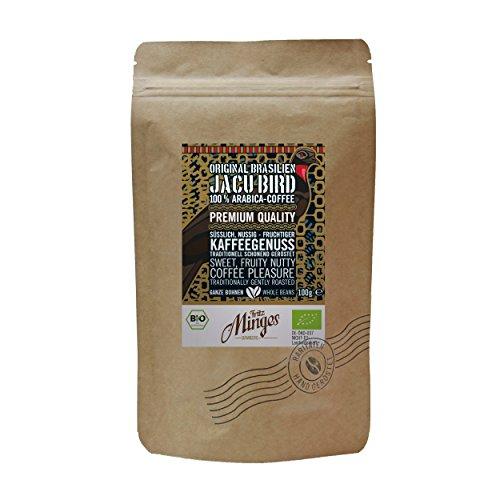 Fritz Minges Brasil Wild Jacu Bird (Bird Dung) Premium Kaffee, Fruchtig-Nussig, Biokaffee, 100% Arabica, ganze Bohnen, im Doybag, 100g