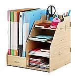 Regal Aufbewahrung DIY Schreibtischbox aus Holz, 4Brett + 2Bucket Hohl Aktentasche Zeitschrift Bücher Zeitungsständer Stifteköcher Multifunktionsgerät für Büro Haus Bibliothek