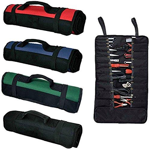 QEES Mehrzweck- Werkzeugtasche mit 37 Taschen Tragbare Tasche für Sets Schlüsseltasche Rolltasche Werkzeugtasche aus Nylon Professionelle Ordnungstasche für Elektriker Tischler Techniker Maler GJB01-Black