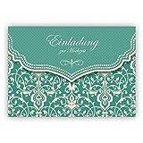 Im 5er Set: Zauberhafte Einladungskarte mit Vintage Damast Muster in edlem Hellblau Türkis für Brautpaare: Einladung zur Hochzeit
