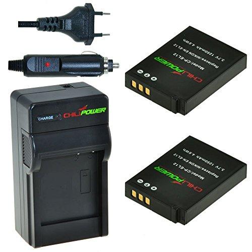 ChiliPower EN-EL12, ENEL12 Kit: 2x Batteria + Caricatore per Nikon Coolpix AW100-AW110s, P300-P330, S31, S70, S610-S640, S710, S800c, S1000pj, S1100pj, S1200pj, S6000-S6300, S8000-S8200, S9050-S9500