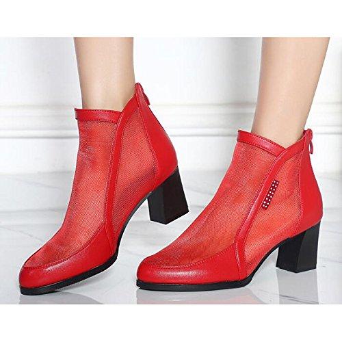 HSXZ Scarpe donna vacchetta molla rientrano Comfort Bootie stivali scarpe da passeggio Chunky tallone punta tonda Babbucce/stivaletti di strass rosso Casual Black