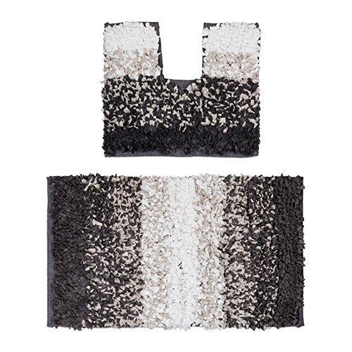 Läufer Festen Weißen Teppich (Relaxdays Badgarnitur 2teilig im Paper Shaggy-Design, Für Fußbodenheizung, Waschbar, Badematte und WC-Vorleger, Für Stand-WC, 80 x 50 cm, braun / beige)