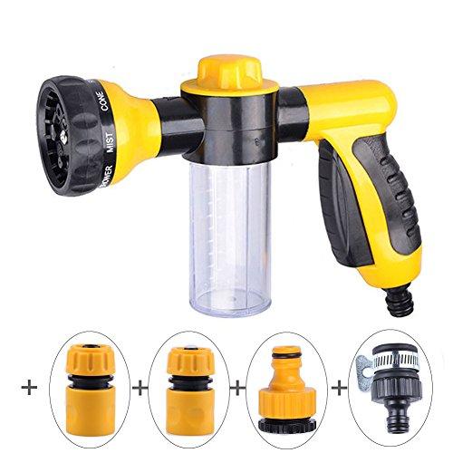 Verstellbare Schaumwaschpistole, Hochdruckschaumspritzpistole - Gartenschlauch-Sprühpistole - Autowaschpistole mit 3,5 oz / 100 ml-Flasche - 8 Bewässerungsmuster für PKW-Haustierpflanzen
