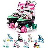 meteor Pattini a rotelle discoteca skate - Roller Parallel 4 ruote - Pattini da pattinaggio in quad per bambini Adolescenti e adulti - Taglia regolabile (M 35-38, Flamingo)
