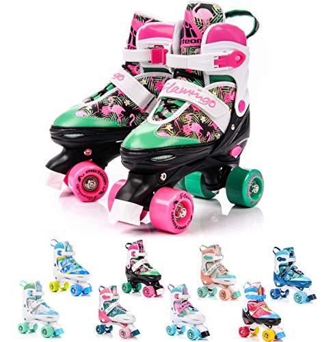 meteor Pattini a rotelle discoteca skate - Roller Parallel 4 ruote - Pattini da pattinaggio in quad per bambini Adolescenti e adulti - Taglia regolabile (S 31-34, Flamingo)